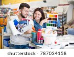 young loving couple deciding on ... | Shutterstock . vector #787034158