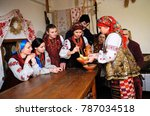 woman in ukrainian native dress ... | Shutterstock . vector #787034518