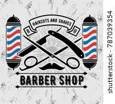 Barbershop Logo With Barber...