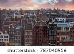 roofs of amsterdam at sunset  ... | Shutterstock . vector #787040956