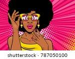 wow pop art face. sexy... | Shutterstock .eps vector #787050100