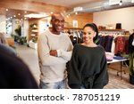 young adult couple smiling to... | Shutterstock . vector #787051219