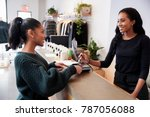 woman making card payment at... | Shutterstock . vector #787056088