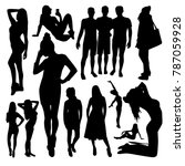 women and man silhouettes | Shutterstock .eps vector #787059928