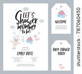 baby shower set. invitation... | Shutterstock .eps vector #787060450