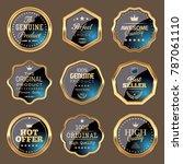 set of navy blue badges   Shutterstock .eps vector #787061110