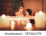 beautiful young couple enjoying ... | Shutterstock . vector #787061170