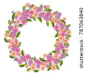 vector wreath of pink  lilac... | Shutterstock .eps vector #787063840