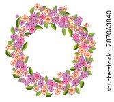 vector wreath of pink  lilac... | Shutterstock .eps vector #787063840