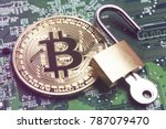 bitcoin security concept. gold... | Shutterstock . vector #787079470
