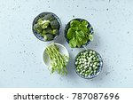 assorted green vegetables and... | Shutterstock . vector #787087696