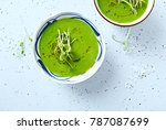 vegan pea soup with pea sprouts ... | Shutterstock . vector #787087699
