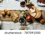 italian tuscan wooden table... | Shutterstock . vector #787091500