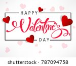 happy valentines day typography ... | Shutterstock .eps vector #787094758