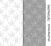 white and gray set of floral...   Shutterstock .eps vector #787096390