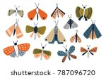 set of colored doodle moths...   Shutterstock .eps vector #787096720