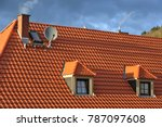 roof with dormer windows on a... | Shutterstock . vector #787097608