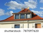 roof with dormer windows on a... | Shutterstock . vector #787097620