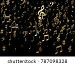 gold flying musical notes...   Shutterstock .eps vector #787098328