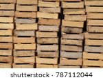closeup of wooden produce boxes ... | Shutterstock . vector #787112044