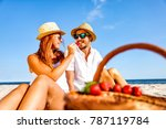 two lovers on beach and summer... | Shutterstock . vector #787119784