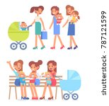 happy mothers on the walk with  ... | Shutterstock .eps vector #787121599