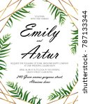 wedding invitation  floral... | Shutterstock .eps vector #787133344