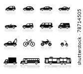 auto,automobile,bike,black,black trailer,bus,car,collection,cross motosycle,formula one,icons,illustration,isolated,jeep,mixer