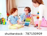 cheerful young woman  mother... | Shutterstock . vector #787150909