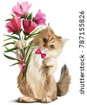 Stock photo kitten gave a bouquet of flowers watercolor painting 787155826