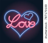 neon love for valentine | Shutterstock . vector #787170100