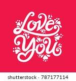 happy valentines day typography ... | Shutterstock .eps vector #787177114