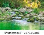 Small Mountain Waterfall On...