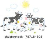 a spotted white and black cow ...   Shutterstock .eps vector #787184803