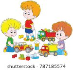 little boys playing with toy... | Shutterstock .eps vector #787185574