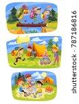 kids summer camping vector...   Shutterstock .eps vector #787186816