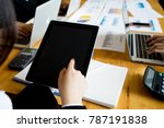 business documents on office... | Shutterstock . vector #787191838