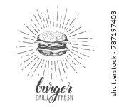 hand drawn doodle hamburger... | Shutterstock .eps vector #787197403