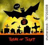 happy halloween card with... | Shutterstock . vector #787202008