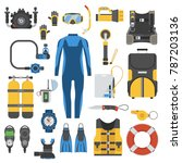 snorkeling gear set. scuba... | Shutterstock . vector #787203136