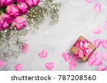 beautiful pink and yellow roses ... | Shutterstock . vector #787208560