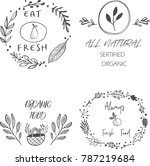 set of four healthy food labels ...   Shutterstock .eps vector #787219684