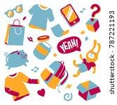 wacky hipsters doodle set.... | Shutterstock .eps vector #787221193