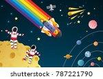 astronaut cartoon on the moon...   Shutterstock .eps vector #787221790