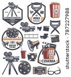 set of cinema labels. elements... | Shutterstock .eps vector #787227988
