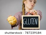 disgusted young woman with... | Shutterstock . vector #787239184