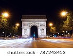 arc de triomphe in paris in the ... | Shutterstock . vector #787243453