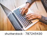 close up of the hand of a young ... | Shutterstock . vector #787245430