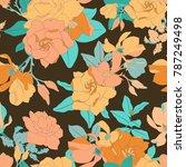 yellow magnolia seamless vector ... | Shutterstock .eps vector #787249498