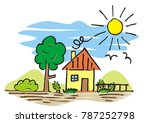 house and garden  hand drawing  ... | Shutterstock .eps vector #787252798